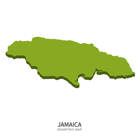 polity: Isometric map of Jamaica detailed vector illustration. Isolated 3D isometric country concept for infographic Illustration