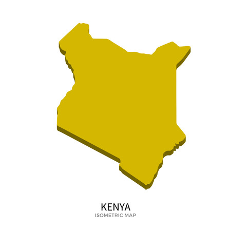 polity: Isometric map of Kenya detailed vector illustration. Isolated 3D isometric country concept for infographic