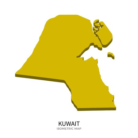 western asia: Isometric map of Kuwait detailed vector illustration. Isolated 3D isometric country concept for infographic