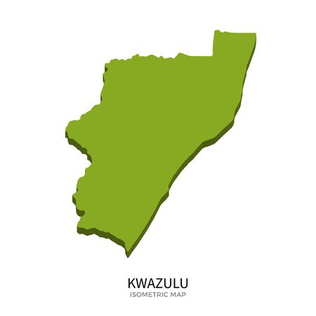 polity: Isometric map of KwaZulu detailed vector illustration. Isolated 3D isometric country concept for infographic