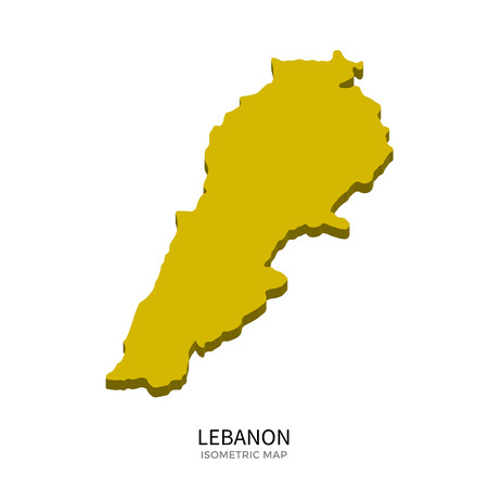 western asia: Isometric map of Lebanon detailed vector illustration. Isolated 3D isometric country concept for infographic