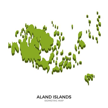 polity: Isometric map of Aland Islands detailed vector illustration. Isolated 3D isometric country concept for infographic Illustration