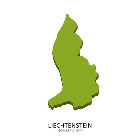 polity: Isometric map of Liechtenstein detailed vector illustration. Isolated 3D isometric country concept for infographic