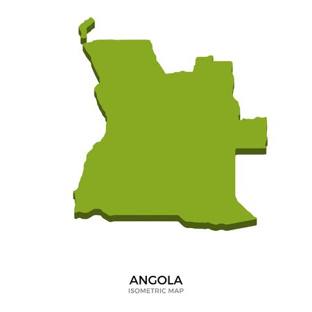 polity: Isometric map of Angola detailed vector illustration. Isolated 3D isometric country concept for infographic Illustration
