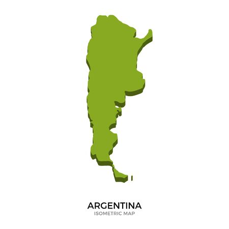 Isometric Map Of Argentina Detailed Vector Illustration Isolated