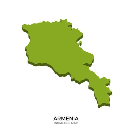 yerevan: Isometric map of Armenia detailed vector illustration. Isolated 3D isometric country concept for infographic
