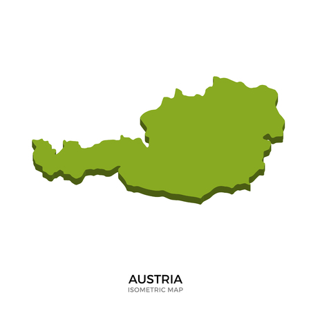 polity: Isometric map of Austria detailed vector illustration. Isolated 3D isometric country concept for infographic