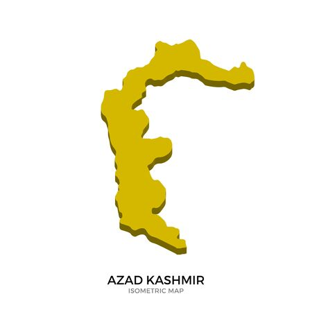 polity: Isometric map of Azad Kashmir detailed vector illustration. Isolated 3D isometric country concept for infographic