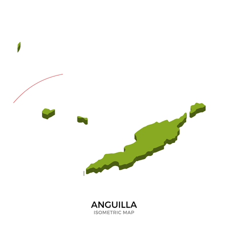 anguilla: Isometric map of Anguilla detailed vector illustration. Isolated 3D isometric country concept for infographic