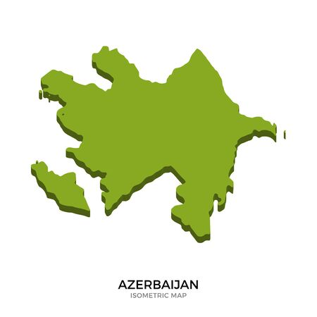 western asia: Isometric map of Azerbaijan detailed vector illustration. Isolated 3D isometric country concept for infographic