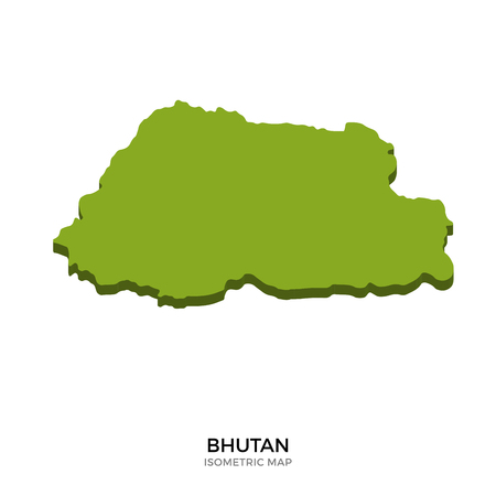 polity: Isometric map of Bhutan detailed vector illustration. Isolated 3D isometric country concept for infographic Illustration