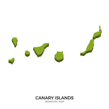Isometric map of Canary Islands detailed vector illustration. Isolated 3D isometric country concept for infographic