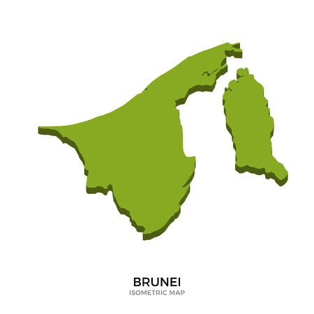 map of brunei: Isometric map of Brunei detailed vector illustration. Isolated 3D isometric country concept for infographic