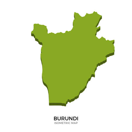 bujumbura: Isometric map of Burundi detailed vector illustration. Isolated 3D isometric country concept for infographic