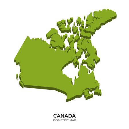 polity: Isometric map of Canada detailed vector illustration. Isolated 3D isometric country concept for infographic