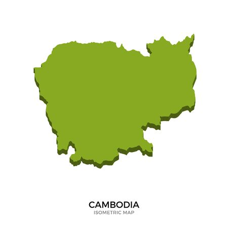 polity: Isometric map of Cambodia detailed vector illustration. Isolated 3D isometric country concept for infographic Illustration