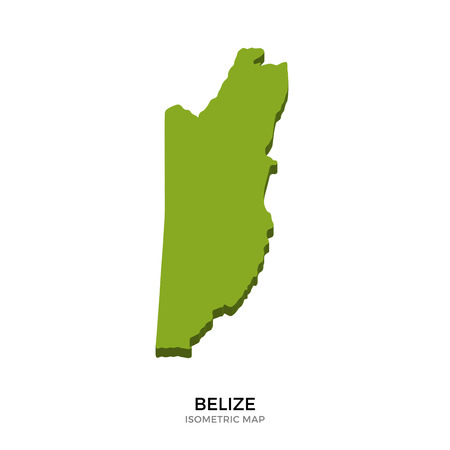 polity: Isometric map of Belize detailed vector illustration. Isolated 3D isometric country concept for infographic Illustration