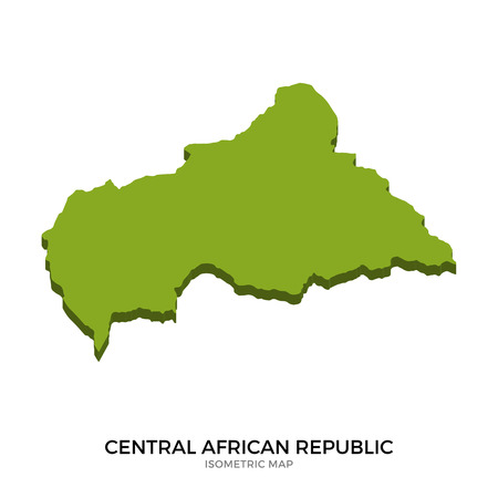polity: Isometric map of Central African Republic detailed vector illustration. Isolated 3D isometric country concept for infographic Illustration