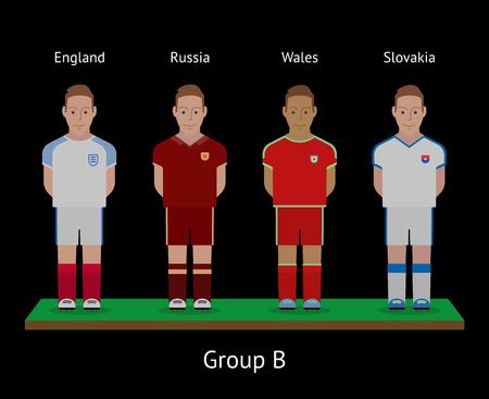 group b: Football players. Soccer teams. Group B - England, Russia, Wales, Slovakia. Vector illustration