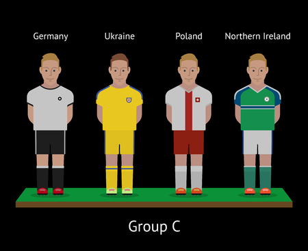 Football players. Soccer teams. Group C - Germany, Ukraine, Poland, Northern Ireland. Vector illustration Illustration