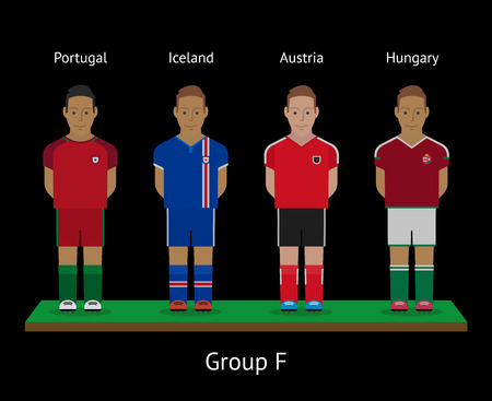Football players. Soccer teams. Group F - Portugal, Iceland, Austria, Hungary. Vector illustration