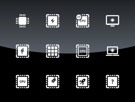computer cpu: Computer CPU and microchip icons on black background. Vector illustration.