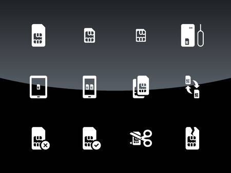 gsm phone: SIM cards mini, micro, nano icons on black background. Vector illustration.