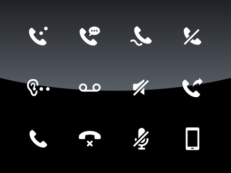 voice mail: Phones related icons on black background. Vector illustration. Illustration