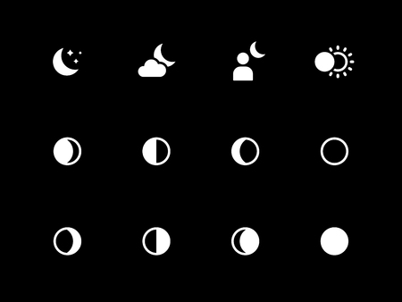 waxing gibbous: Moon phases icons on black background. Vector illustration. Illustration