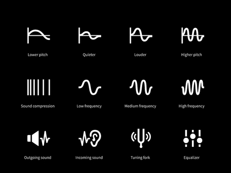 quieter: Sound wave cycle icons on black background. Vector illustration.