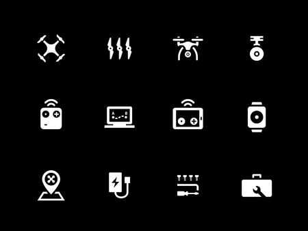 autonomic: Hexacopter and quadcopter icons on black background. Vector illustration.