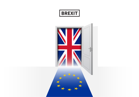 skepticism: Brexit referendum in Great Britain. British and European Union flags. Vector illustration