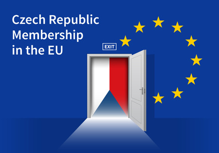 the czech republic: Flag of the Czech Republic and the European Union. Czech Republic Flag and EU Flag. Abstract Czech Republic exit in a wall