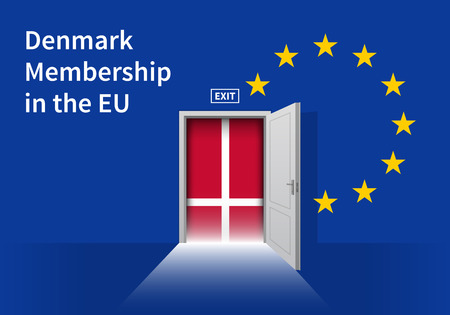 denmark: Flag of the Denmark and the European Union. Denmark Flag and EU Flag. Abstract Denmark exit in a wall Illustration