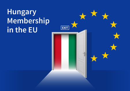 plebiscite: Flag of the Hungary and the European Union. Hungary Flag and EU Flag. Abstract Hungary exit in a wall