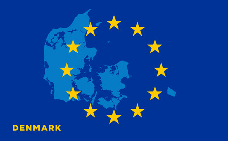 strasbourg: Flag of European Union with Denmark on background. Vector EU flag
