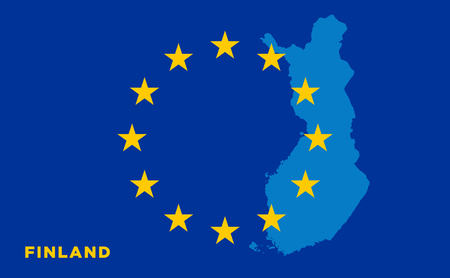 europa: Flag of European Union with Finland on background. Vector EU flag Illustration