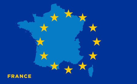 strasbourg: Flag of European Union with France on background. Vector EU flag Illustration