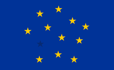 blended: Abstract Flag of European Union with blended stars. Detailed star flag Euro. EU Flag. Euro Flag.