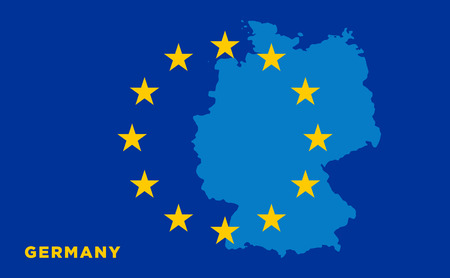 strasbourg: Flag of European Union with Germany on background. Vector EU flag