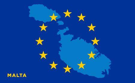 Flag of European Union with Malta on background. Vector EU flag Illustration