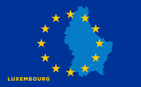 strasbourg: Flag of European Union with Luxembourg on background. Vector EU flag