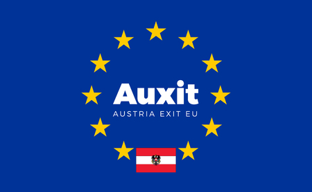 political party: Flag of Austria on European Union. Auxit - Austria Exit EU European Union Flag with Title EU exit for Newspaper and Websites. Isolated Vector EU Flag with Austria Country and Exit Name Auxit.