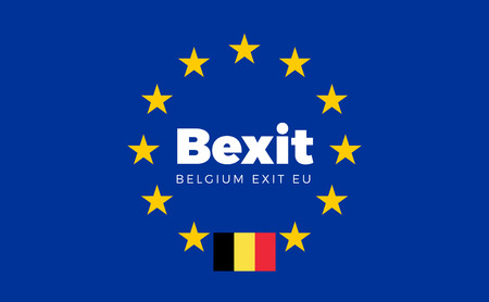 electorate: Flag of Belgium on European Union. Bexit - Belgium Exit EU European Union Flag with Title EU exit for Newspaper and Websites. Isolated Vector EU Flag with Belgium Country and Exit Name Bexit .