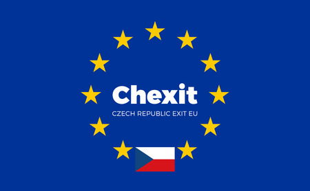 electorate: Flag of Czech Republic. Chexit - Czech Republic Exit EU European Union Flag with Title EU exit for Newspaper and Websites. Isolated Vector EU Flag with Czech Republic Country and Exit Name Chexit.