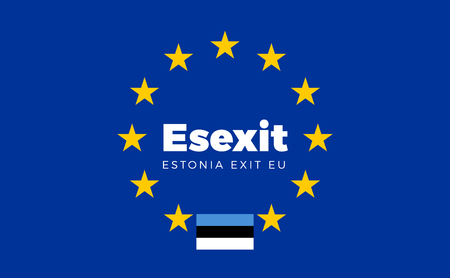 entity: Flag of Estonia on European Union. Esexit - Estonia Exit EU European Union Flag with Title EU exit for Newspaper and Websites. Isolated Vector EU Flag with Estonia Country and Exit Name Esexit.