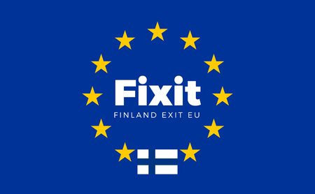 electorate: Flag of Finland on European Union. Fixit - Finland Exit EU European Union Flag with Title EU exit for Newspaper and Websites. Isolated Vector EU Flag with Finland Country and Exit Name Fixit. Illustration