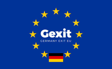 political party: Flag of Germany on European Union. Gexit - Germany Exit EU European Union Flag with Title EU exit for Newspaper and Websites. Isolated Vector EU Flag with Germany Country and Exit Name Gexit.
