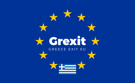 reform: Flag of Greece on European Union. Grexit - Greece Exit EU European Union Flag with Title EU exit for Newspaper and Websites. Isolated Vector EU Flag with Greece Country and Exit Name Grexit.