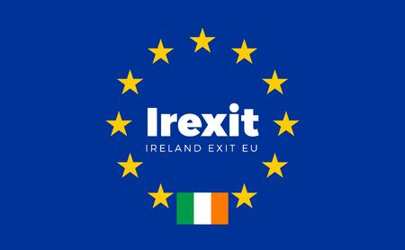 entity: Flag of Ireland on European Union. Irexit - Ireland Exit EU European Union Flag with Title EU exit for Newspaper and Websites. Isolated Vector EU Flag with Ireland Country and Exit Name Irexit.
